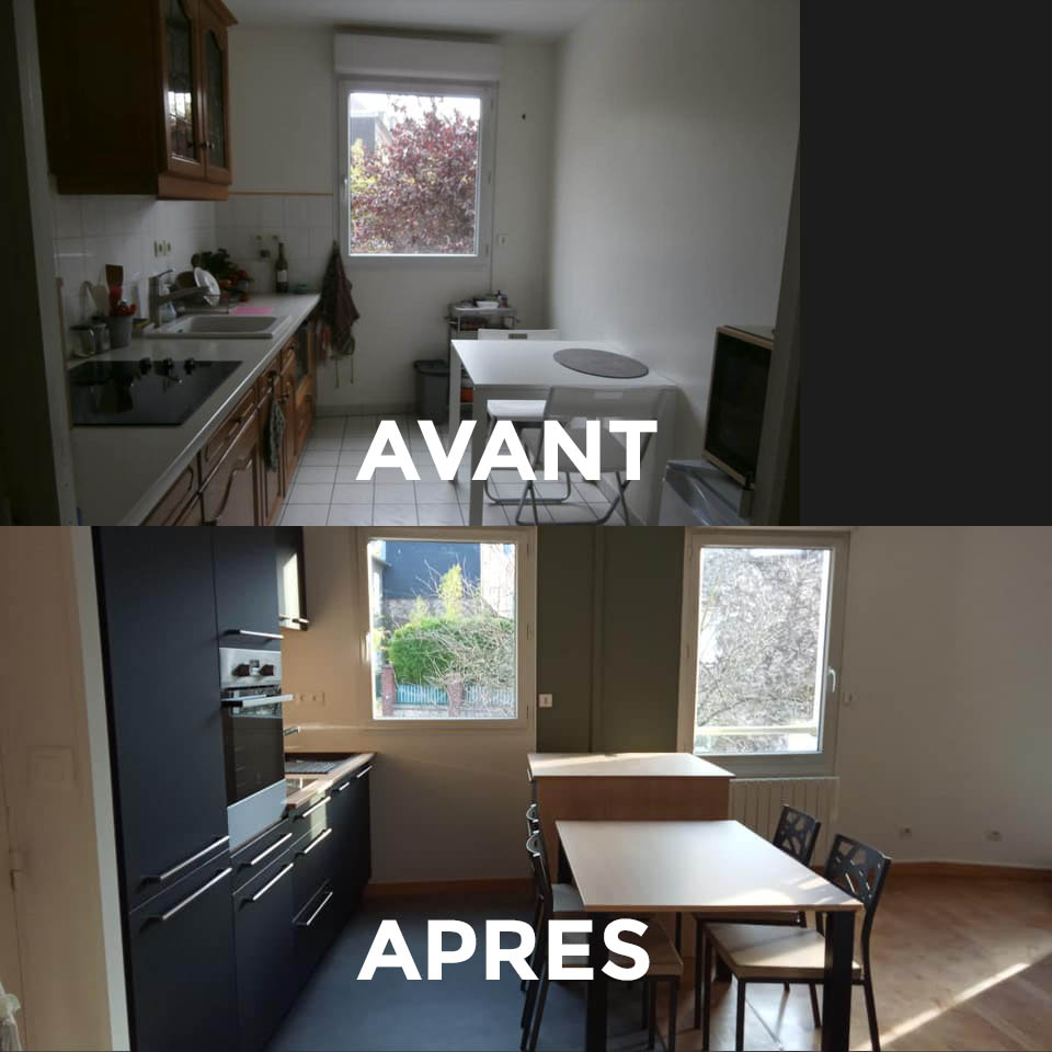 Cuisine avant/après rénovation